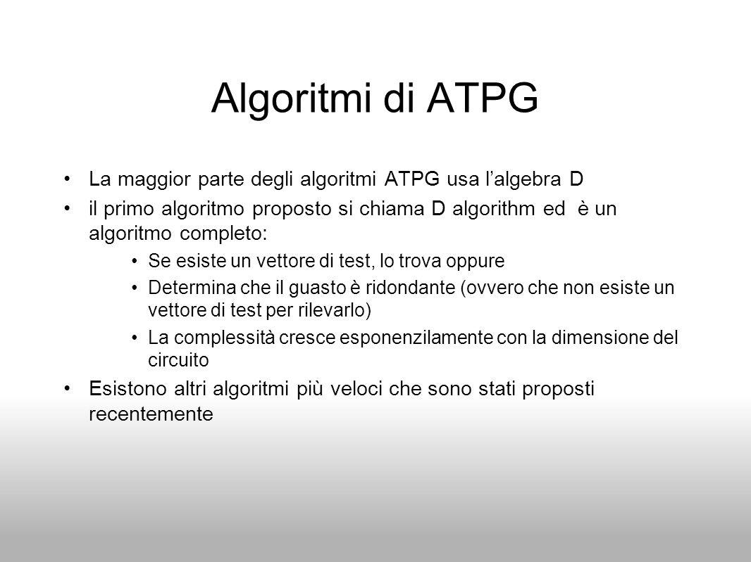 Algoritmi di ATPG La maggior parte degli algoritmi ATPG usa l'algebra D il primo algoritmo proposto si chiama D algorithm ed è un algoritmo completo: