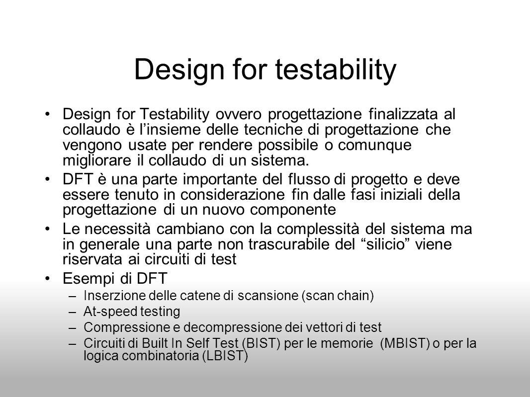 Design for testability Design for Testability ovvero progettazione finalizzata al collaudo è l'insieme delle tecniche di progettazione che vengono usa