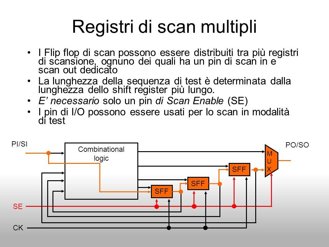 Registri di scan multipli I Flip flop di scan possono essere distribuiti tra più registri di scansione, ognuno dei quali ha un pin di scan in e scan o
