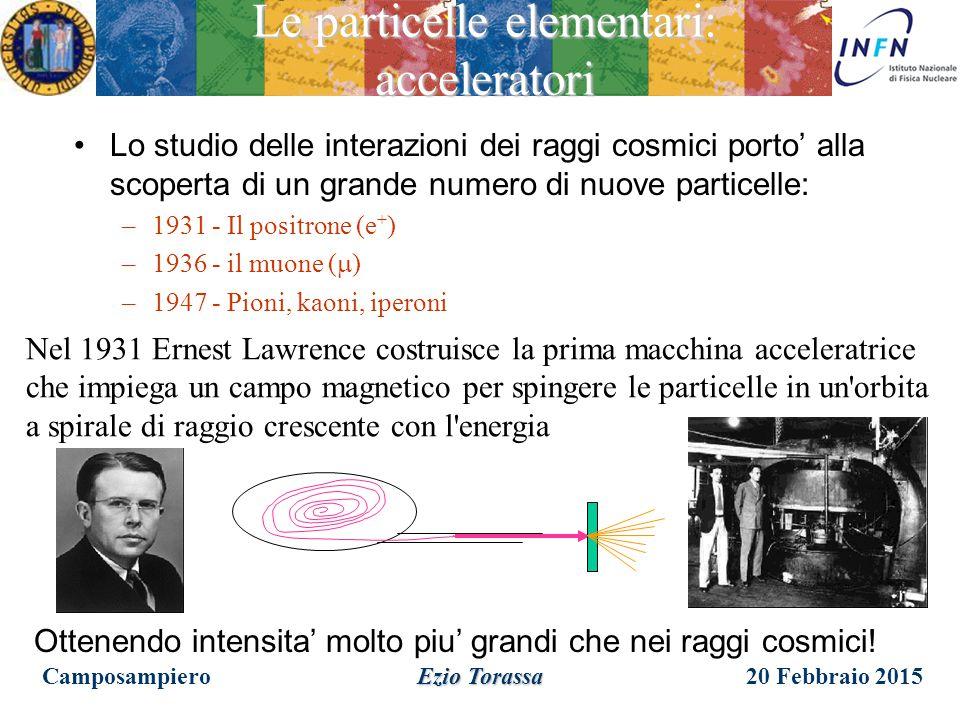 20 Febbraio 2015Camposampiero Ezio Torassa Le particelle elementari: i raggi cosmici v=99.8% c  =15.8 c  = 10 km