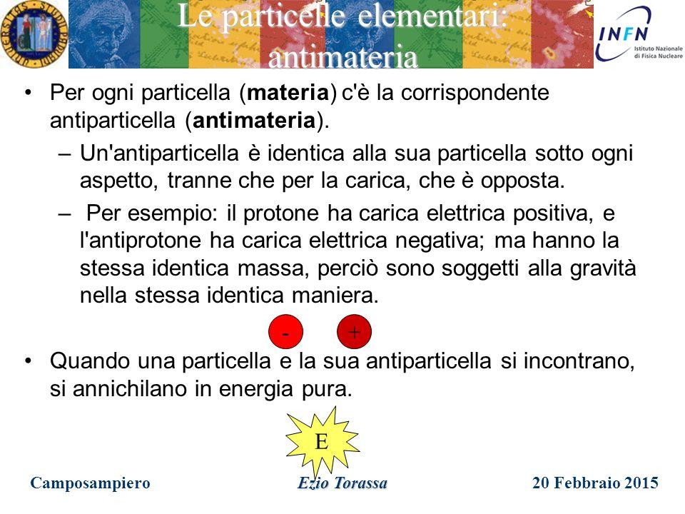 20 Febbraio 2015Camposampiero Ezio Torassa Le particelle elementari: dove sono i quarks? Questa descrizione e' molto interessante, ma i quark dove son