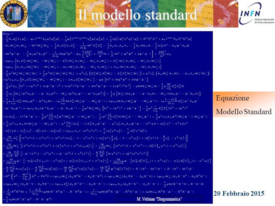 20 Febbraio 2015 Ezio Torassa Il modello standard E' l'attuale descrizione delle interazioni elettro-deboli e forti dei costituenti fondamentali della