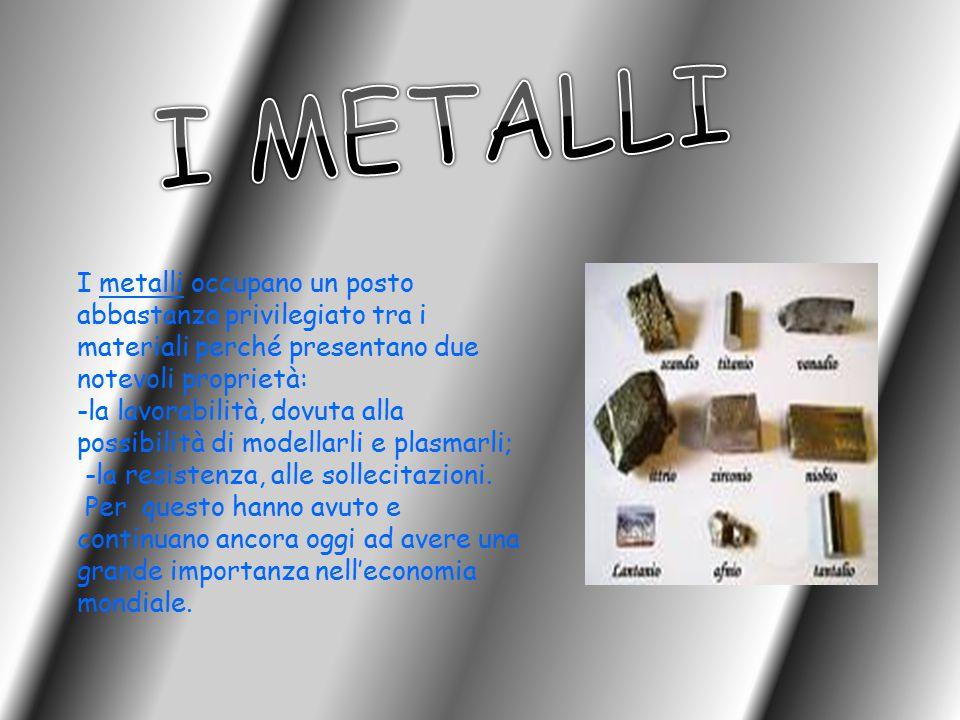 I metalli occupano un posto abbastanza privilegiato tra i materiali perché presentano due notevoli proprietà: -la lavorabilità, dovuta alla possibilit