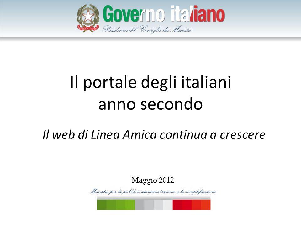 Il portale degli italiani anno secondo Il web di Linea Amica continua a crescere Maggio 2012