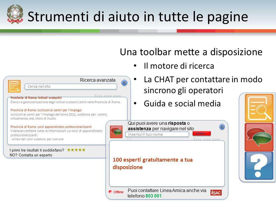 Strumenti di aiuto in tutte le pagine Una toolbar mette a disposizione Il motore di ricerca La CHAT per contattare in modo sincrono gli operatori Guid