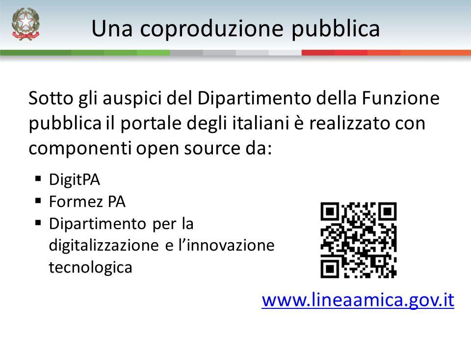 Una coproduzione pubblica Sotto gli auspici del Dipartimento della Funzione pubblica il portale degli italiani è realizzato con componenti open source da: www.lineaamica.gov.it  DigitPA  Formez PA  Dipartimento per la digitalizzazione e l'innovazione tecnologica