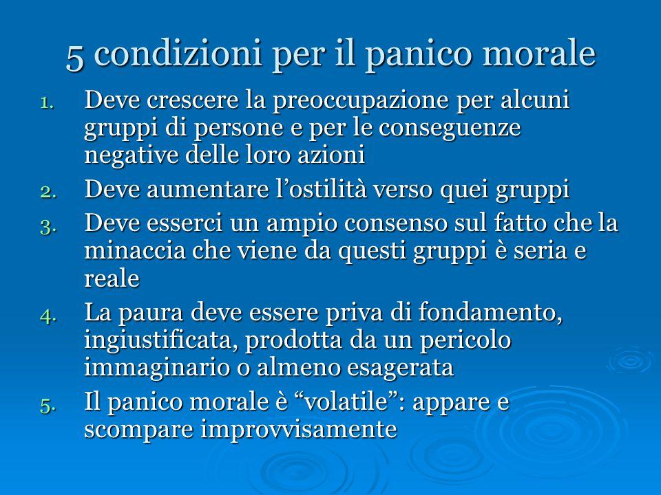 5 condizioni per il panico morale 1. Deve crescere la preoccupazione per alcuni gruppi di persone e per le conseguenze negative delle loro azioni 2. D