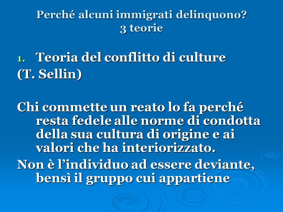 Perché alcuni immigrati delinquono? 3 teorie 1. Teoria del conflitto di culture (T. Sellin) Chi commette un reato lo fa perché resta fedele alle norme