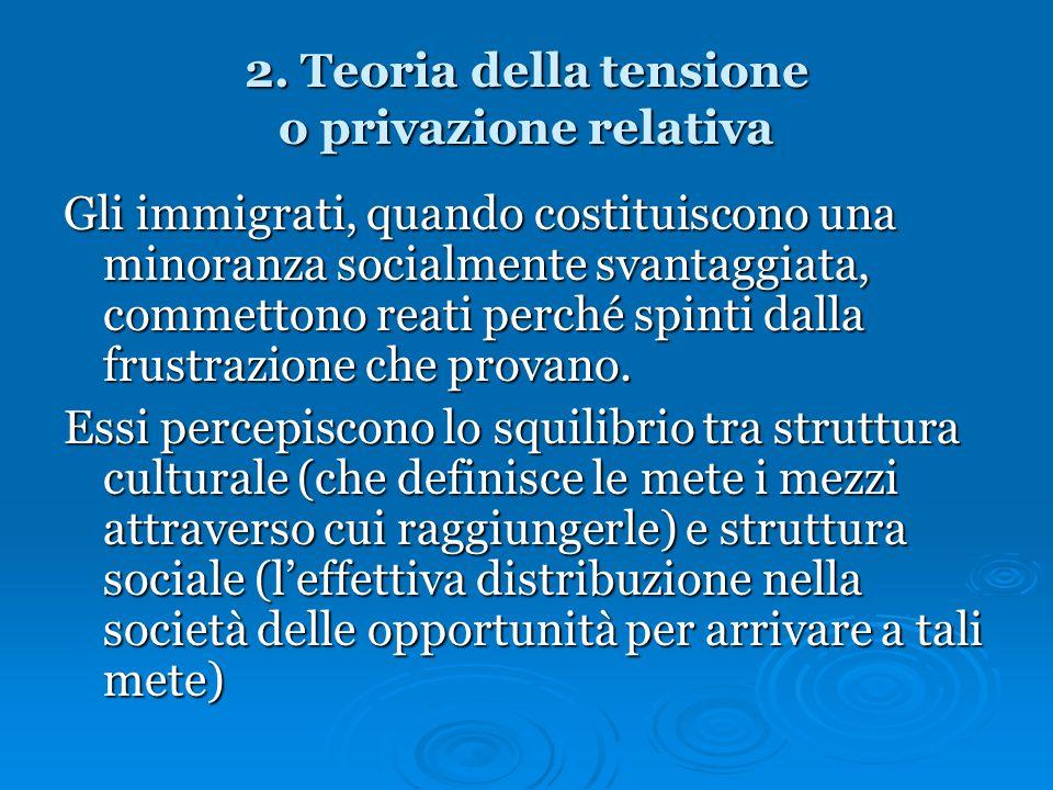 2. Teoria della tensione o privazione relativa Gli immigrati, quando costituiscono una minoranza socialmente svantaggiata, commettono reati perché spi
