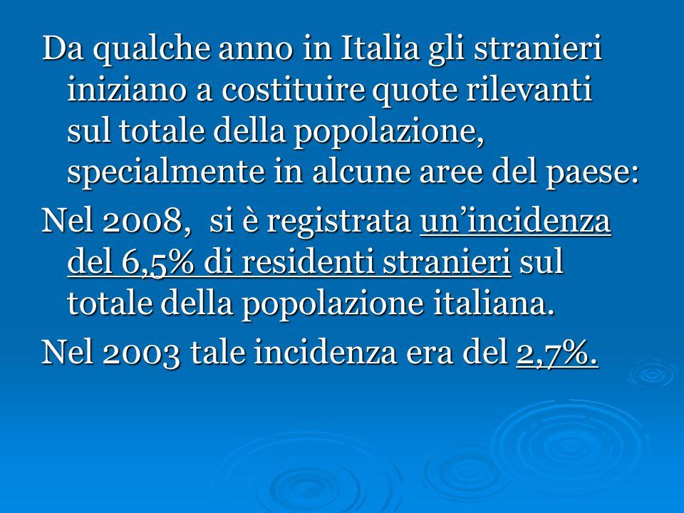 Da qualche anno in Italia gli stranieri iniziano a costituire quote rilevanti sul totale della popolazione, specialmente in alcune aree del paese: Nel