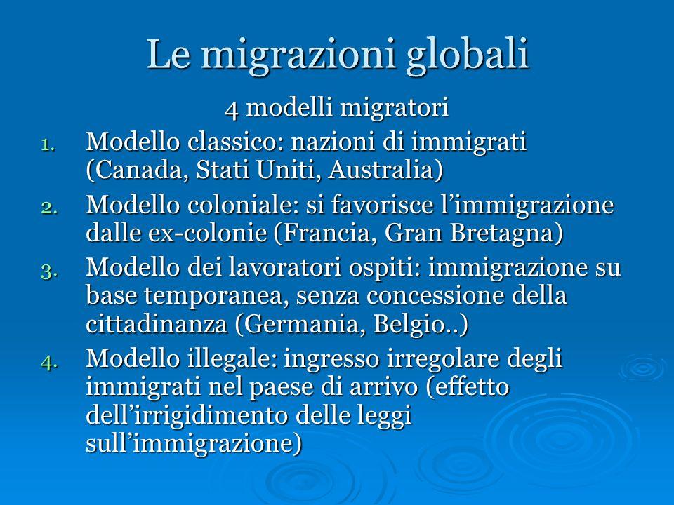 Le migrazioni globali 4 modelli migratori 1. Modello classico: nazioni di immigrati (Canada, Stati Uniti, Australia) 2. Modello coloniale: si favorisc