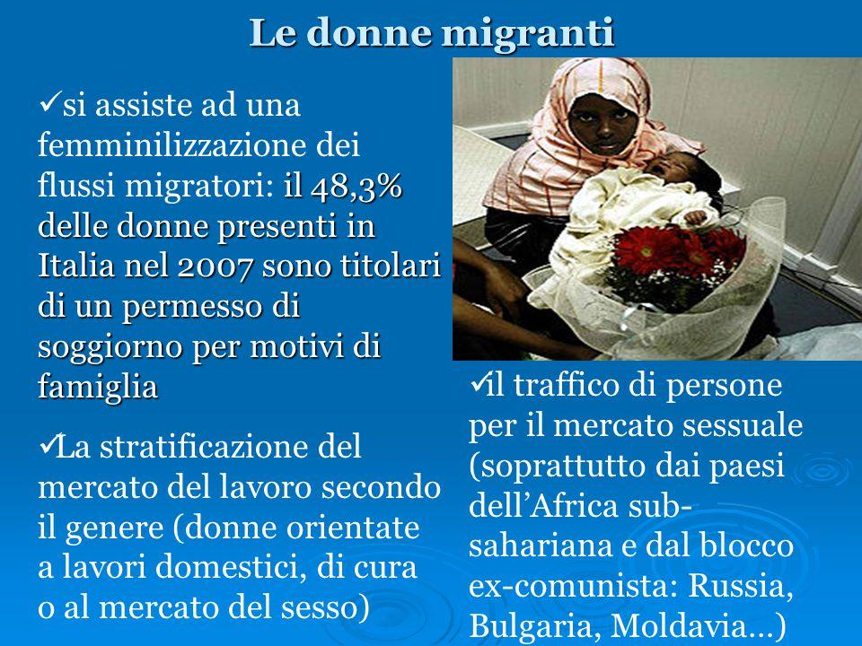 Le donne migranti il 48,3% delle donne presenti in Italia nel 2007 sono titolari di un permesso di soggiorno per motivi di famiglia si assiste ad una
