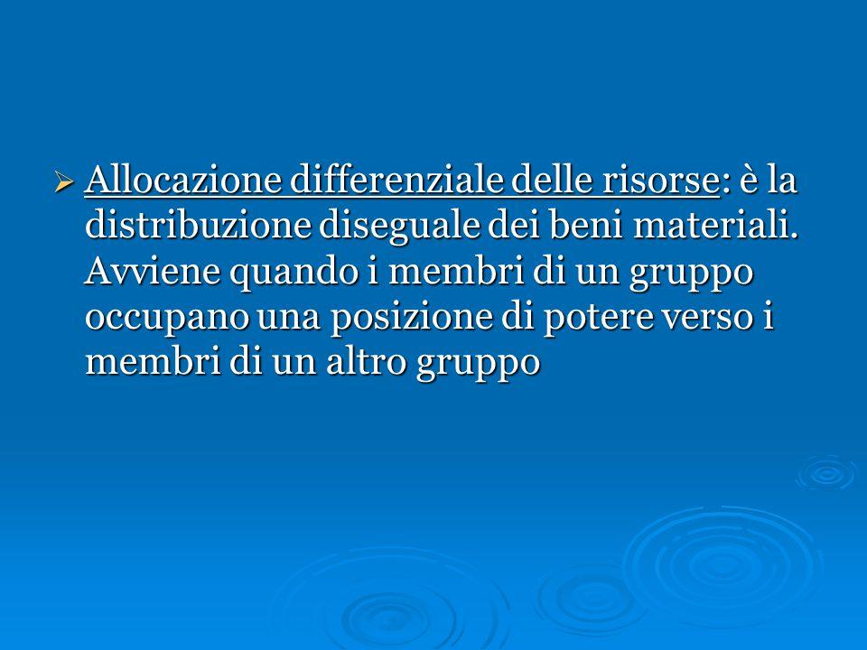  Allocazione differenziale delle risorse: è la distribuzione diseguale dei beni materiali. Avviene quando i membri di un gruppo occupano una posizion