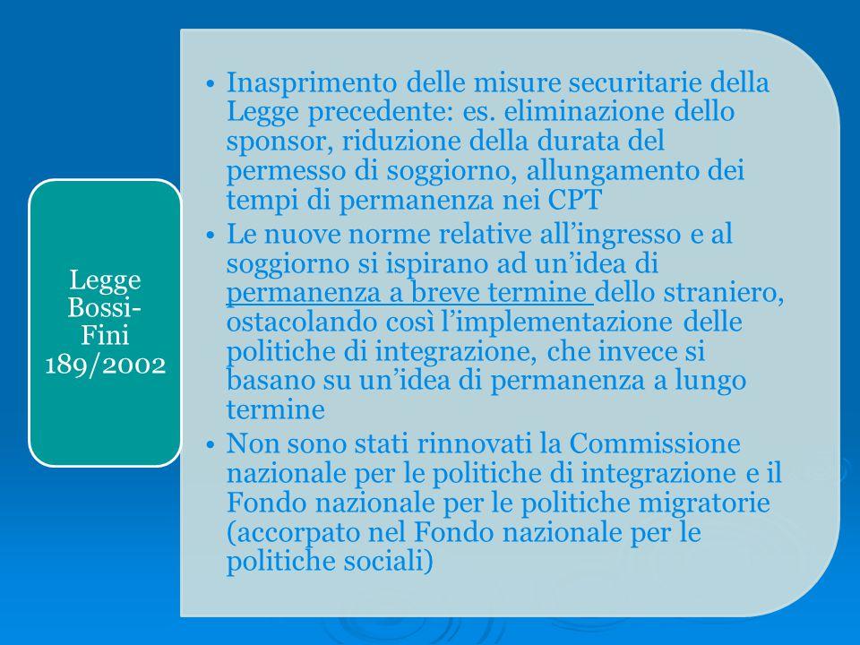 Inasprimento delle misure securitarie della Legge precedente: es. eliminazione dello sponsor, riduzione della durata del permesso di soggiorno, allung