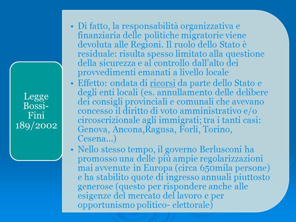 Di fatto, la responsabilità organizzativa e finanziaria delle politiche migratorie viene devoluta alle Regioni. Il ruolo dello Stato è residuale: risu