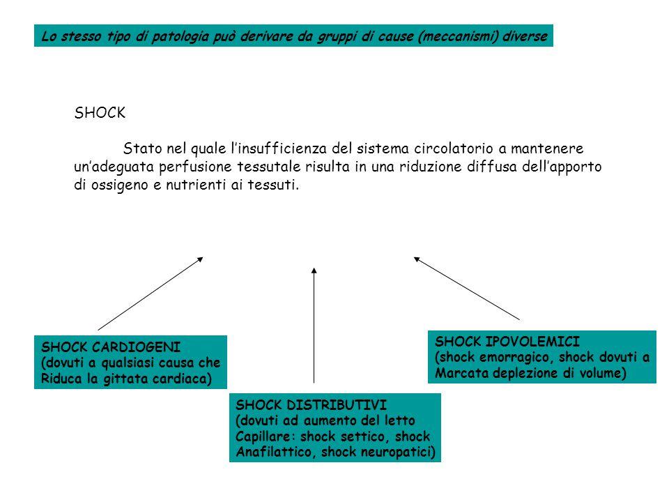 SHOCK Stato nel quale l'insufficienza del sistema circolatorio a mantenere un'adeguata perfusione tessutale risulta in una riduzione diffusa dell'apporto di ossigeno e nutrienti ai tessuti.