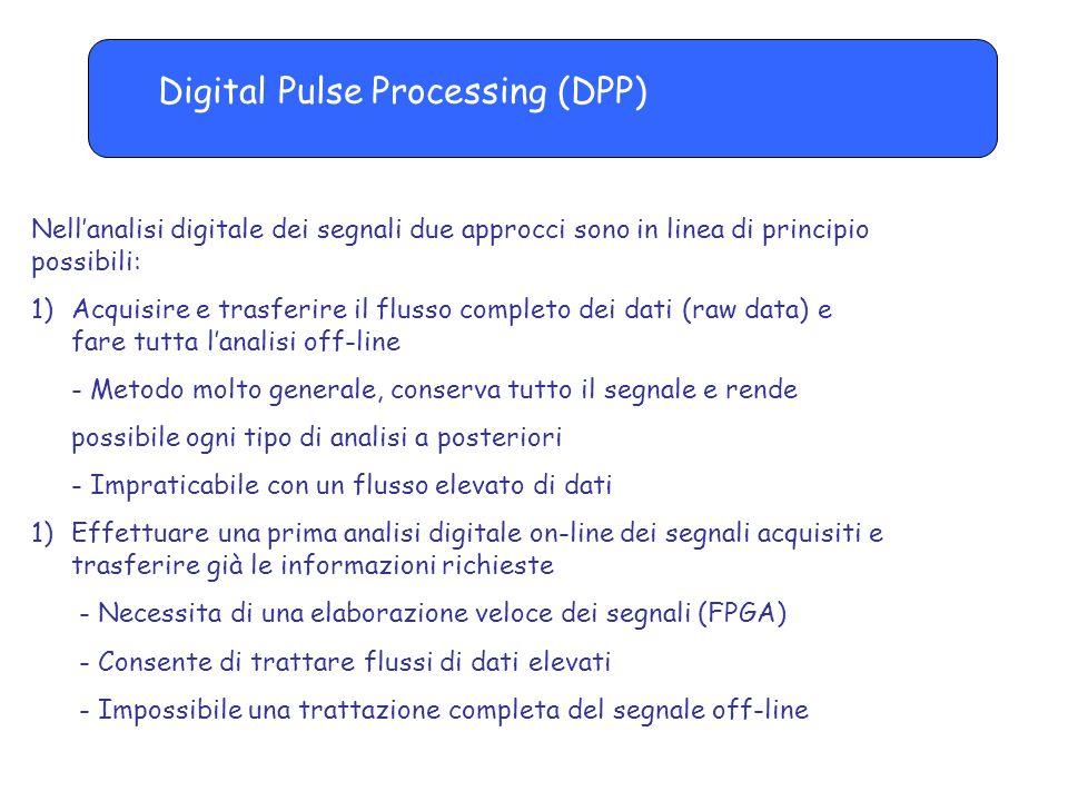 Digital Pulse Processing (DPP) Nell'analisi digitale dei segnali due approcci sono in linea di principio possibili: 1)Acquisire e trasferire il flusso