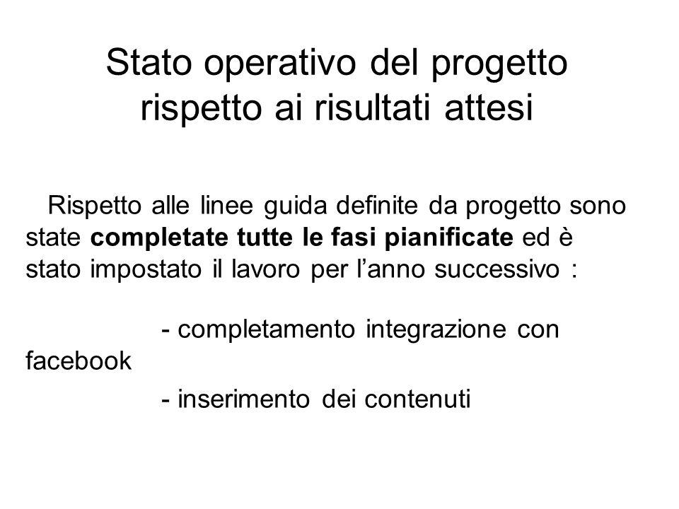 Stato operativo del progetto rispetto ai risultati attesi Rispetto alle linee guida definite da progetto sono state completate tutte le fasi pianificate ed è stato impostato il lavoro per l'anno successivo : - completamento integrazione con facebook - inserimento dei contenuti