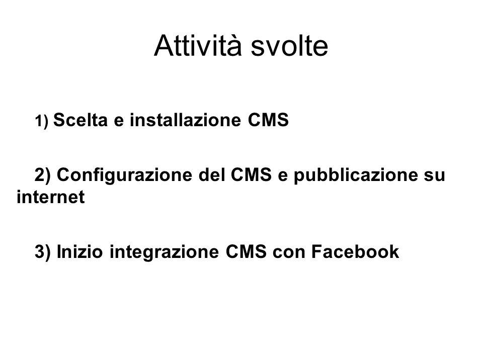 Attività svolte 1) Scelta e installazione CMS 2) Configurazione del CMS e pubblicazione su internet 3) Inizio integrazione CMS con Facebook