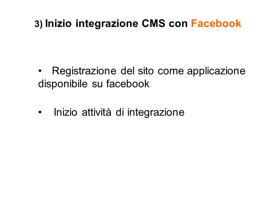 3) Inizio integrazione CMS con Facebook Registrazione del sito come applicazione disponibile su facebook Inizio attività di integrazione