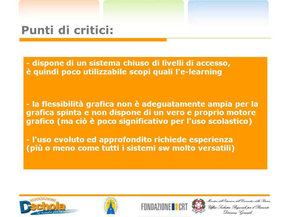 Punti di critici: - dispone di un sistema chiuso di livelli di accesso, è quindi poco utilizzabile scopi quali l'e-learning - la flessibilità grafica