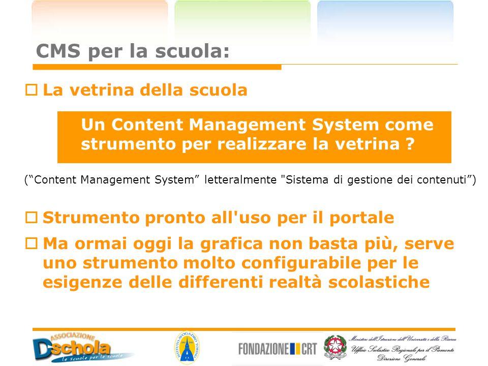 """CMS per la scuola:  La vetrina della scuola (""""Content Management System"""" letteralmente"""