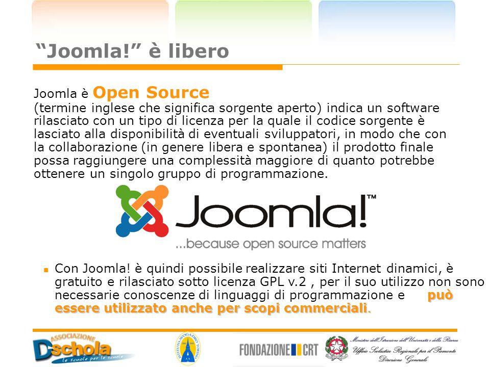 """""""Joomla!"""" è libero può essere utilizzato anche per scopi commerciali. Con Joomla! è quindi possibile realizzare siti Internet dinamici, è gratuito e r"""
