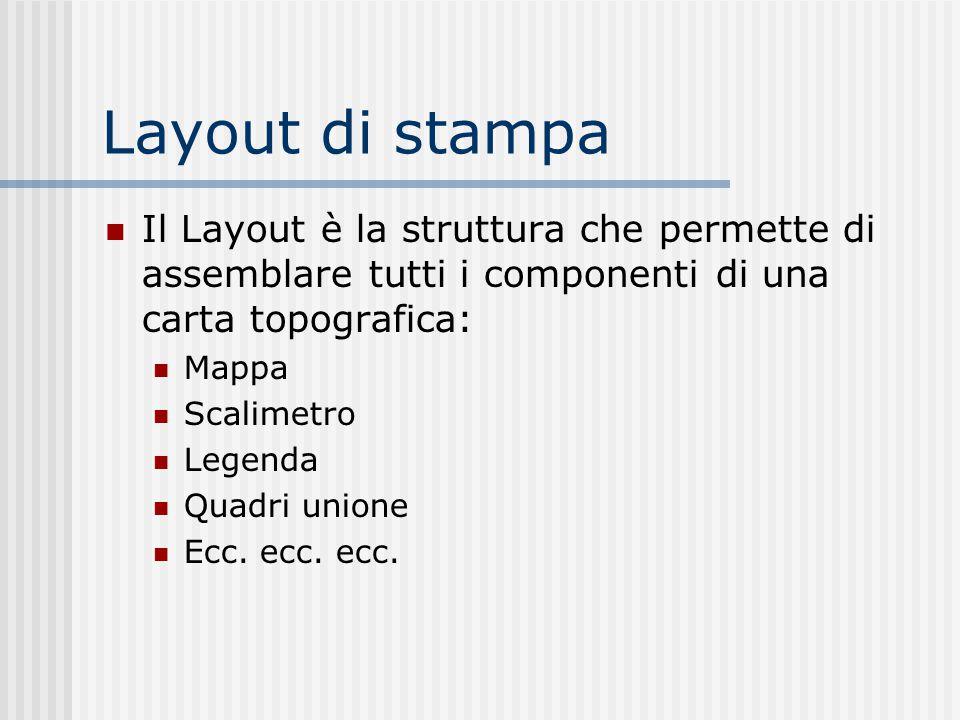 Layout di stampa Il Layout è la struttura che permette di assemblare tutti i componenti di una carta topografica: Mappa Scalimetro Legenda Quadri unio