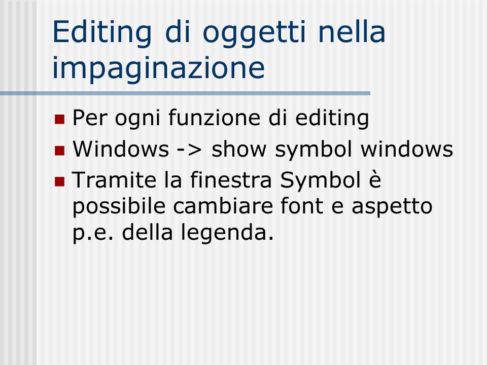 Editing di oggetti nella impaginazione Per ogni funzione di editing Windows -> show symbol windows Tramite la finestra Symbol è possibile cambiare fon