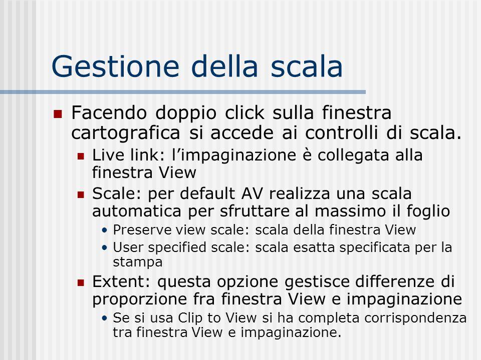 Gestione della scala Facendo doppio click sulla finestra cartografica si accede ai controlli di scala. Live link: l'impaginazione è collegata alla fin