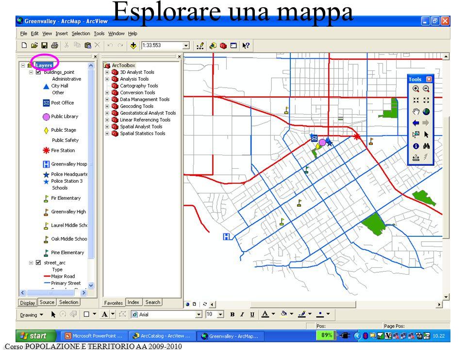 La finestra a sinistra consente di esaminare i contenuti del map-document che abbiamo aperto Il map-document contiene 3 layers: -un layer che rappresenta degli edifici (punti) -Un layer che rappresenta un reticolo di strade (archi) -Un layer che rappresenta i parchi (poligoni) Ciascun layer può essere visualizzato sulla mappa o meno cliccando sull'apposita casella Ciascun layer contiene due tipi di informazioni, quella geografica (sulla forma e la posizione dell'oggetto) e i suoi attributi (le caratteristiche dell'oggetto).