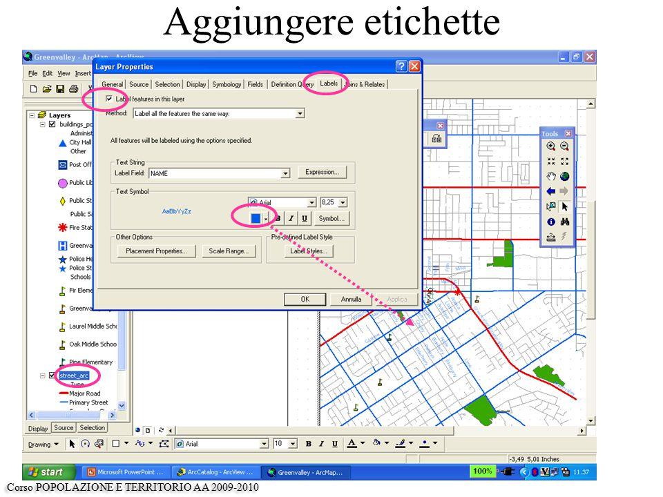 Aggiungere etichette Corso POPOLAZIONE E TERRITORIO AA 2009-2010
