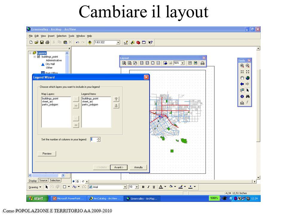 Cambiare il layout Corso POPOLAZIONE E TERRITORIO AA 2009-2010