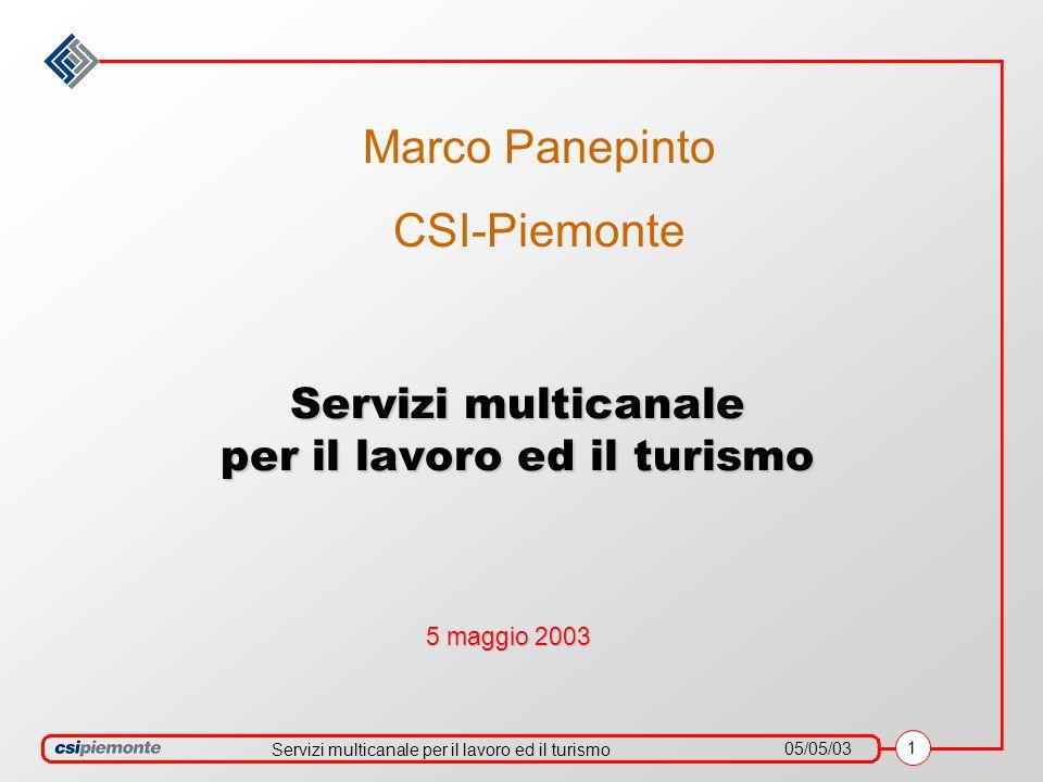 Servizi multicanale per il lavoro ed il turismo 05/05/03 1 Servizi multicanale per il lavoro ed il turismo 5 maggio 2003 Marco Panepinto CSI-Piemonte