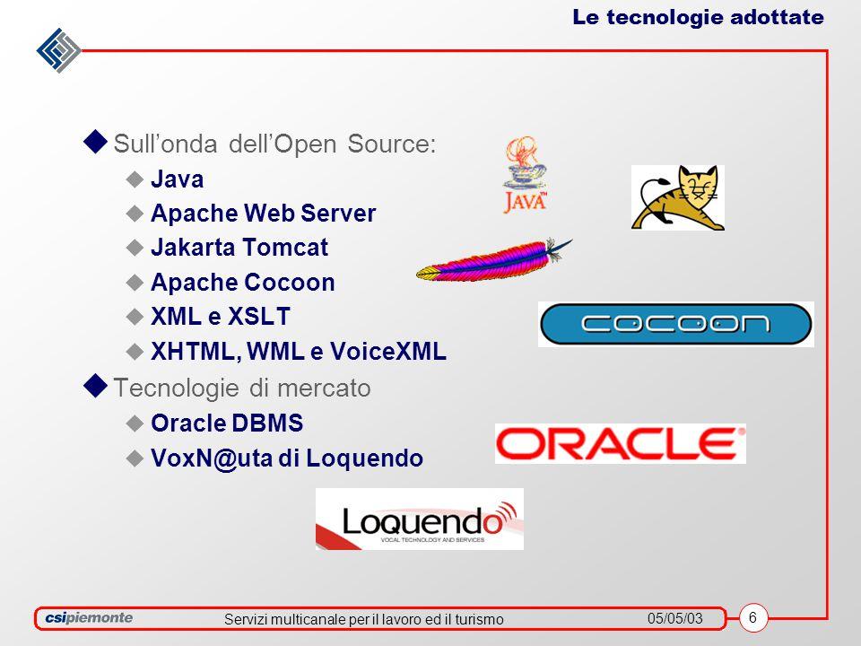 Servizi multicanale per il lavoro ed il turismo 05/05/03 6 Le tecnologie adottate  Sull'onda dell'Open Source:  Java  Apache Web Server  Jakarta Tomcat  Apache Cocoon  XML e XSLT  XHTML, WML e VoiceXML  Tecnologie di mercato  Oracle DBMS  VoxN@uta di Loquendo