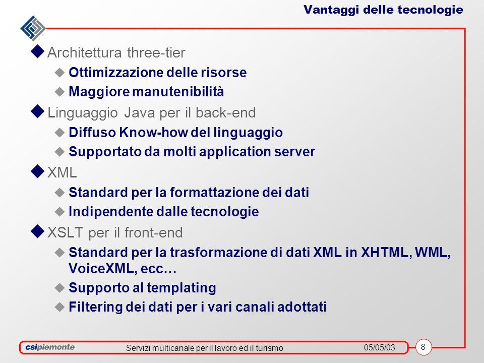 Servizi multicanale per il lavoro ed il turismo 05/05/03 8 Vantaggi delle tecnologie  Architettura three-tier  Ottimizzazione delle risorse  Maggiore manutenibilità  Linguaggio Java per il back-end  Diffuso Know-how del linguaggio  Supportato da molti application server  XML  Standard per la formattazione dei dati  Indipendente dalle tecnologie  XSLT per il front-end  Standard per la trasformazione di dati XML in XHTML, WML, VoiceXML, ecc…  Supporto al templating  Filtering dei dati per i vari canali adottati