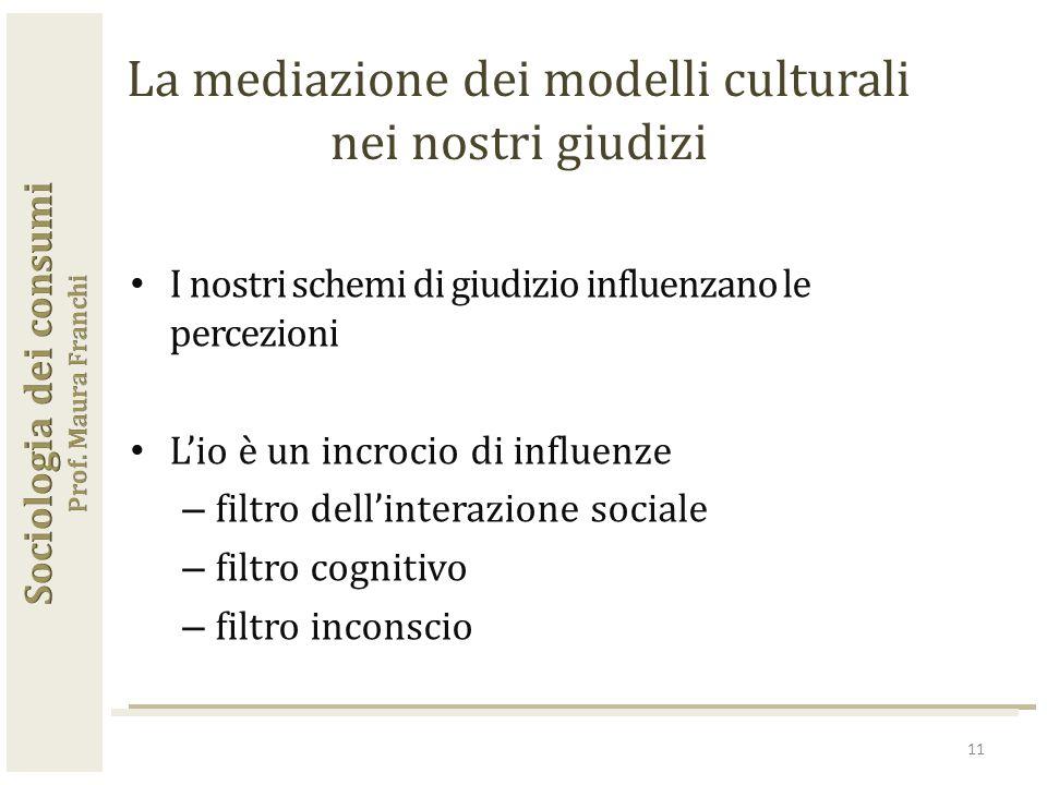 I nostri schemi di giudizio influenzano le percezioni L'io è un incrocio di influenze – filtro dell'interazione sociale – filtro cognitivo – filtro inconscio 11 La mediazione dei modelli culturali nei nostri giudizi