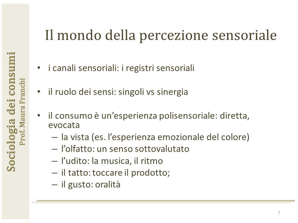 7 Il mondo della percezione sensoriale i canali sensoriali: i registri sensoriali il ruolo dei sensi: singoli vs sinergia il consumo è un'esperienza polisensoriale: diretta, evocata – la vista (es.