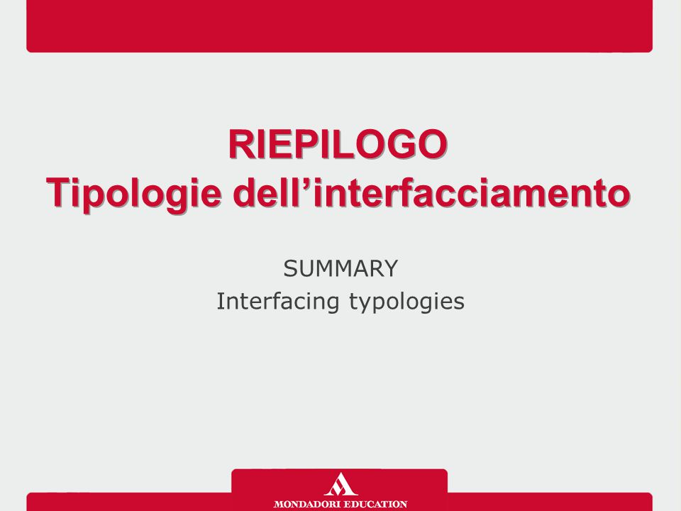 SUMMARY Interfacing typologies RIEPILOGO Tipologie dell'interfacciamento RIEPILOGO Tipologie dell'interfacciamento