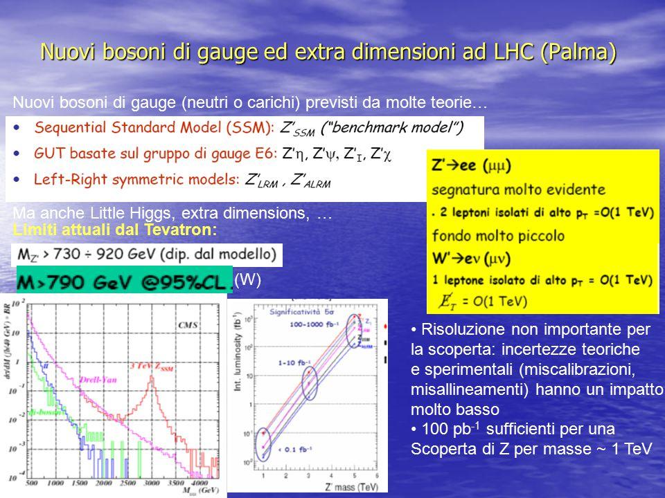 Nuovi bosoni di gauge ed extra dimensioni ad LHC (Palma) Nuovi bosoni di gauge (neutri o carichi) previsti da molte teorie… Ma anche Little Higgs, extra dimensions, … Limiti attuali dal Tevatron: Risoluzione non importante per la scoperta: incertezze teoriche e sperimentali (miscalibrazioni, misallineamenti) hanno un impatto molto basso 100 pb -1 sufficienti per una Scoperta di Z per masse ~ 1 TeV (W)