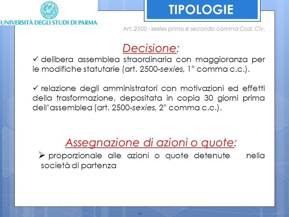 11 TIPOLOGIE Decisione: delibera assemblea straordinaria con maggioranza per le modifiche statutarie (art. 2500-sexies, 1° comma c.c.). relazione degl