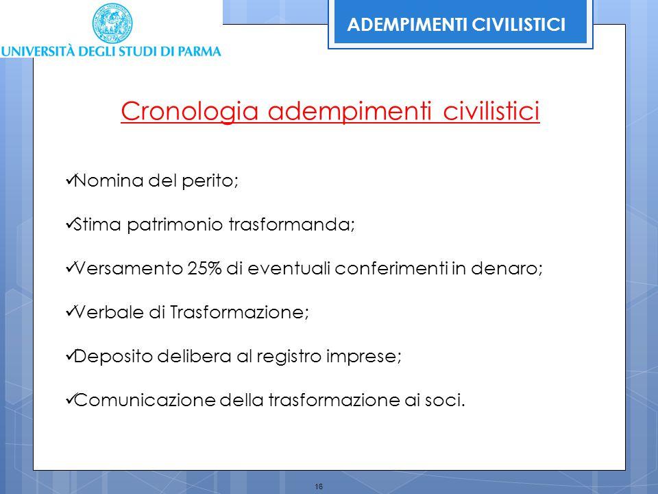 16 Cronologia adempimenti civilistici Nomina del perito; Stima patrimonio trasformanda; Versamento 25% di eventuali conferimenti in denaro; Verbale di