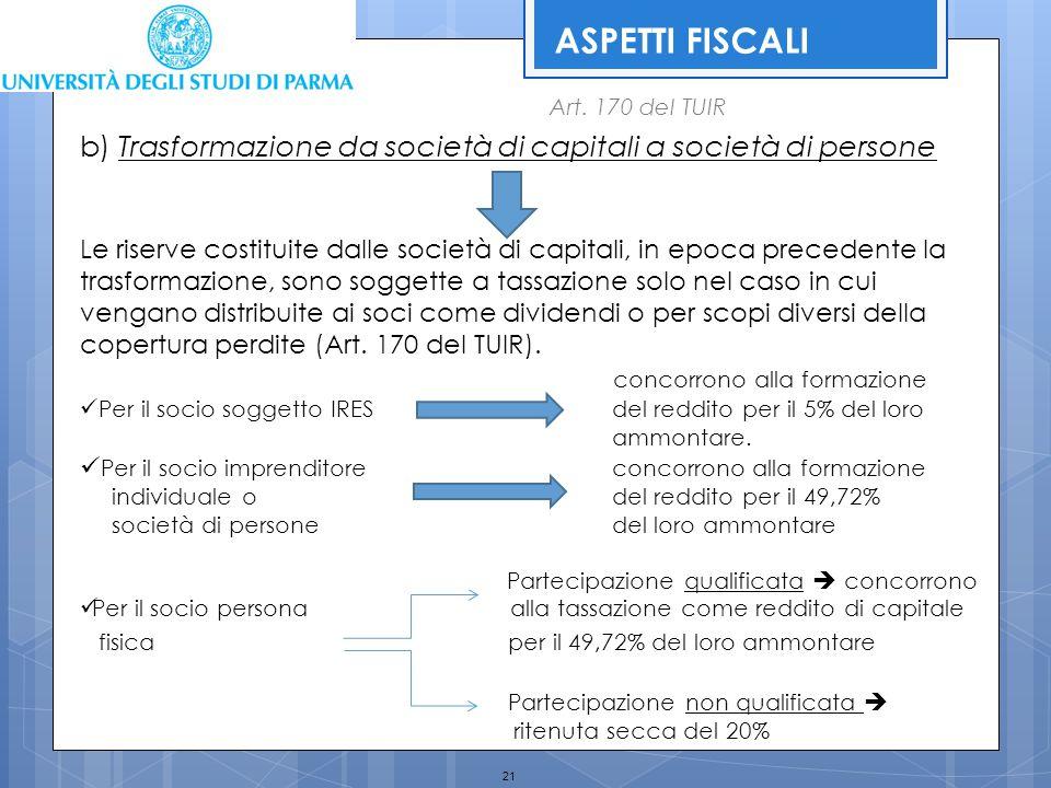 21 ASPETTI FISCALI Art. 170 del TUIR b) Trasformazione da società di capitali a società di persone Le riserve costituite dalle società di capitali, in