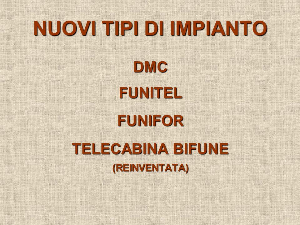 NUOVI TIPI DI IMPIANTO DMCFUNITELFUNIFOR TELECABINA BIFUNE (REINVENTATA)