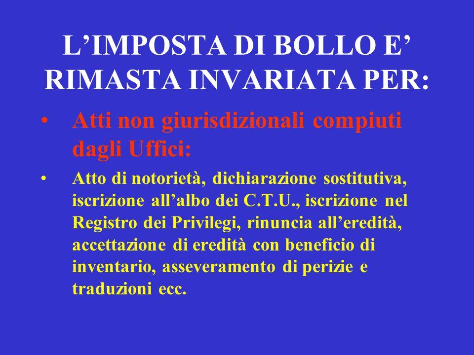 CONSEGUENZE AVVENUTO PAGAMENTO ART. 18 Agli atti e ai provvedimenti del processo non si applica l'imposta di bollo