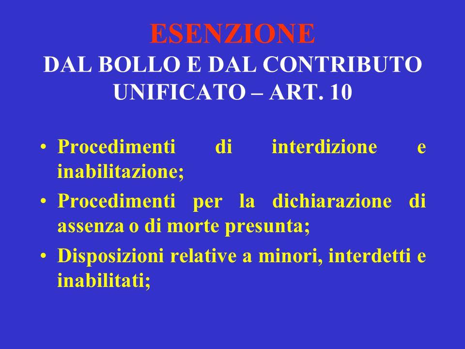 ESENZIONE DAL BOLLO E DAL CONTRIBUTO UNIFICATO – ART. 10 Processo esecutivo per consegna o rilascio; Processo della legge 89\2001; Processo di qualsia