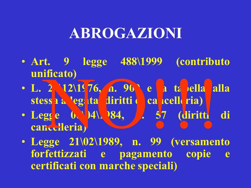 CONTRIBUTO UNIFICATO BREVE STORIA Art. 9 legge 488\1999, in vigore dal 01\03\2002 D.L. 11\03\2002, n. 28 Legge 10\05\2002, n. 91 D.P.R. 30\05\2002, n.