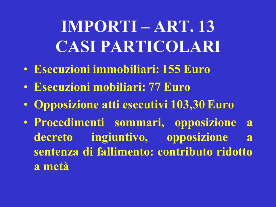 672 Euro: per i processi di valore superiore a euro 258.228 e fino a euro 516.457; 930 Euro: per i processi di valore superiore a euro 516.457. CONTRI