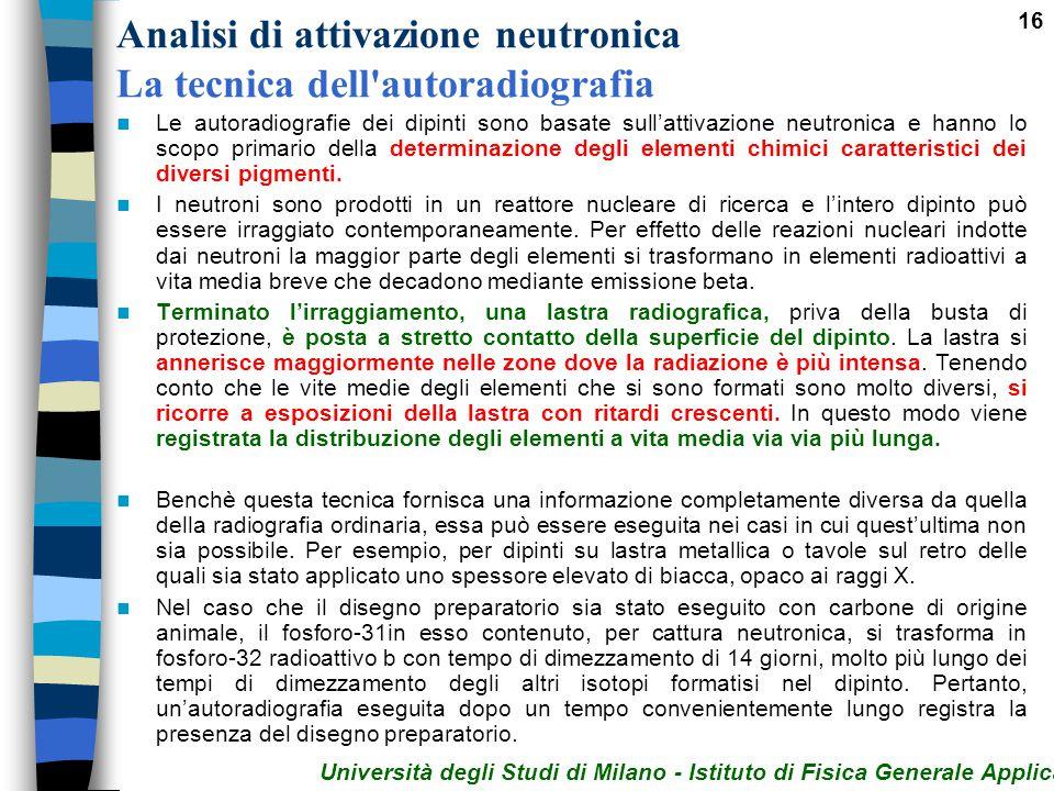 16 Analisi di attivazione neutronica La tecnica dell'autoradiografia Le autoradiografie dei dipinti sono basate sull'attivazione neutronica e hanno lo