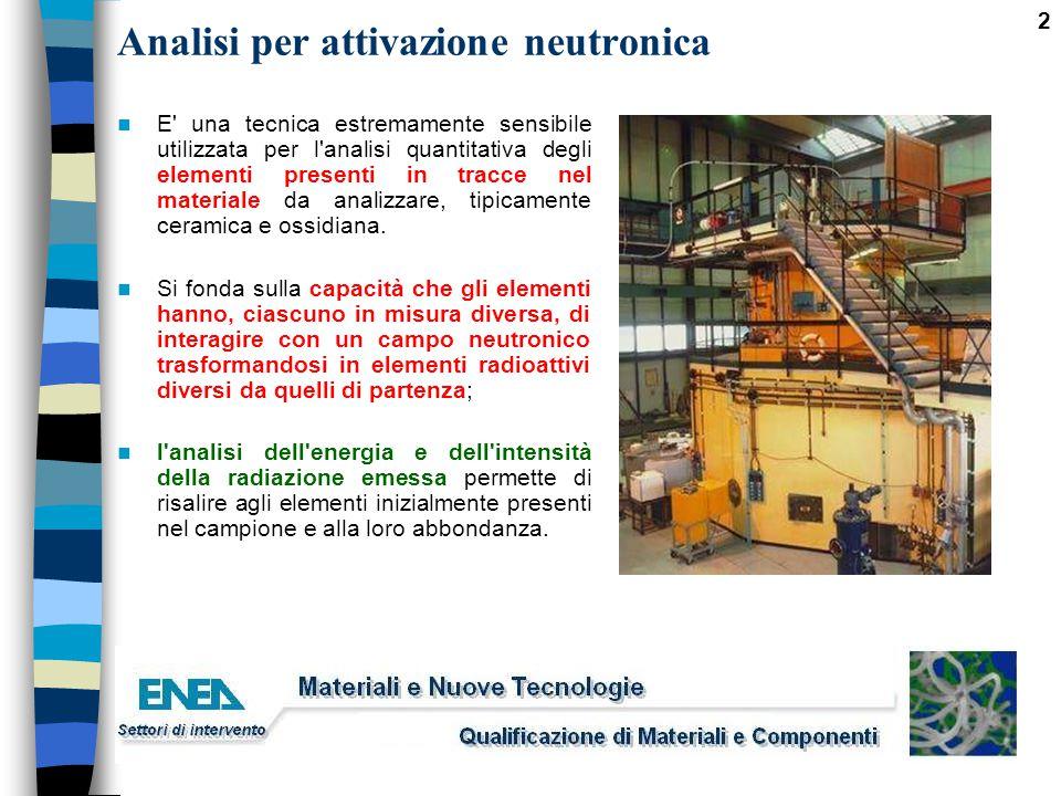 2 Analisi per attivazione neutronica E' una tecnica estremamente sensibile utilizzata per l'analisi quantitativa degli elementi presenti in tracce nel